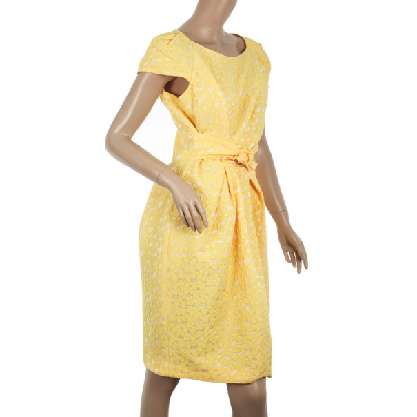 Carolina Herrera Yellow Cotton Lace Dress M