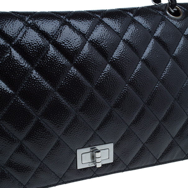 Chanel Black Caviar Diamond Shine Quilted Limited Edition Reissue Flap 227