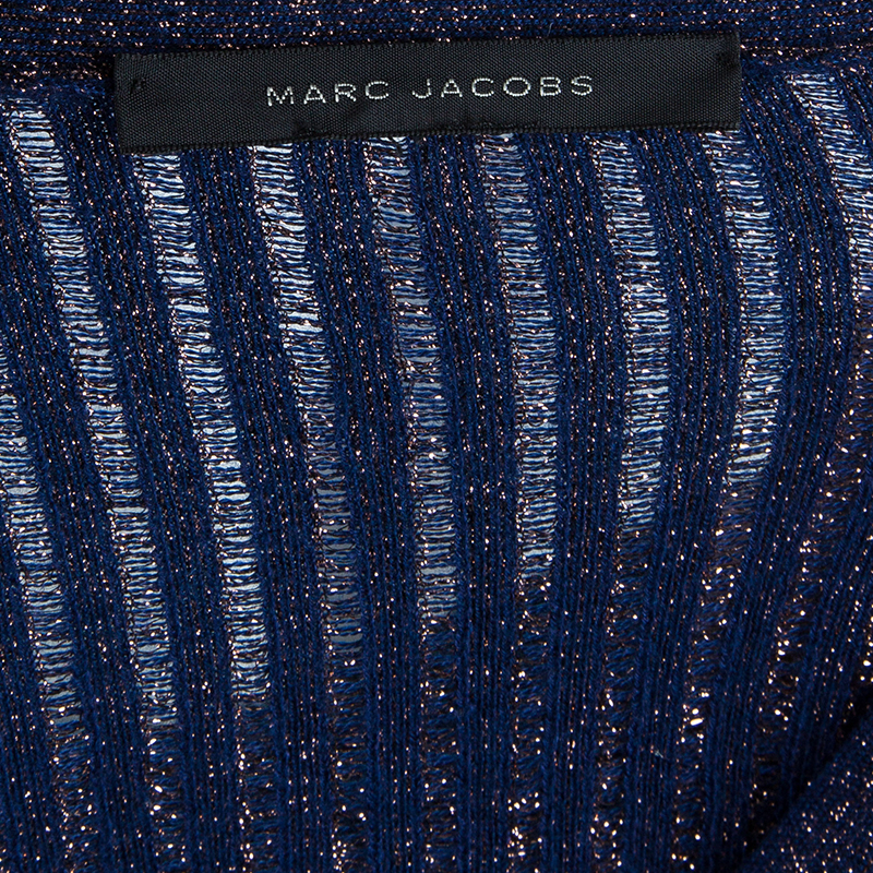 Marc Jacobs Blue Metallic Cardigan M