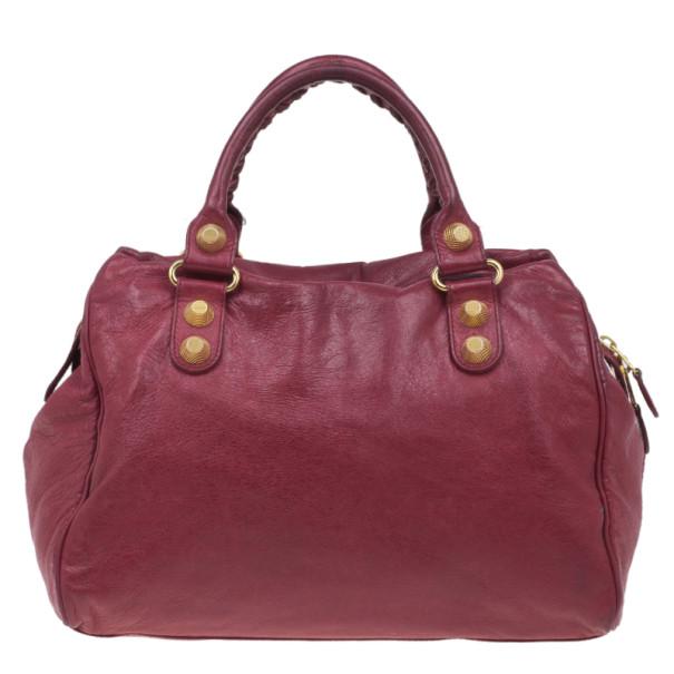 Balenciaga Red Lambskin Giant City Bag
