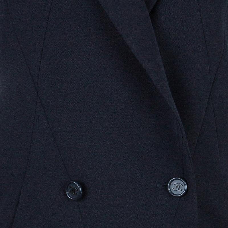 Chanel Navy Blue Tailored Blazer M
