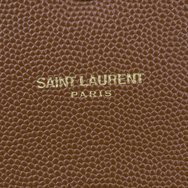 Saint Laurent Paris Brown Leather Cassandre Shoulder Bag
