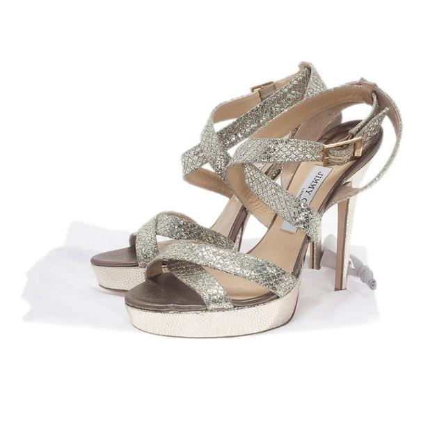 Jimmy Choo Silver Glitter Vamp Platform Sandals Size 39