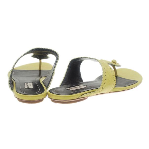 Balenciaga Yellow Leather Brogue Thong Sandals Size 40