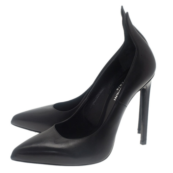 Saint Laurent Paris Black Leather Thorn Pointed Toe Pumps Size 39
