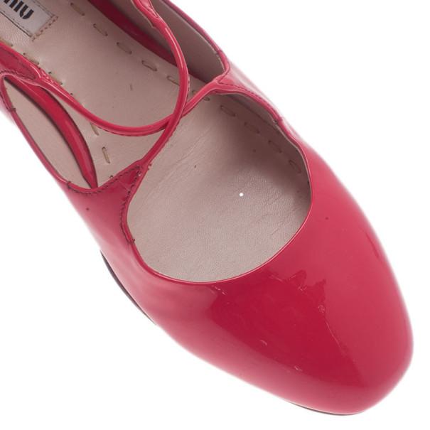 Miu Miu Pink Patent Mary Jane Ballet Flats Size 38.5