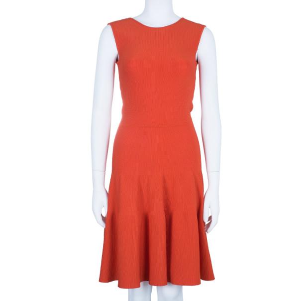 Issa London Blood Orange Ribbed Stretch-Knit Dress S