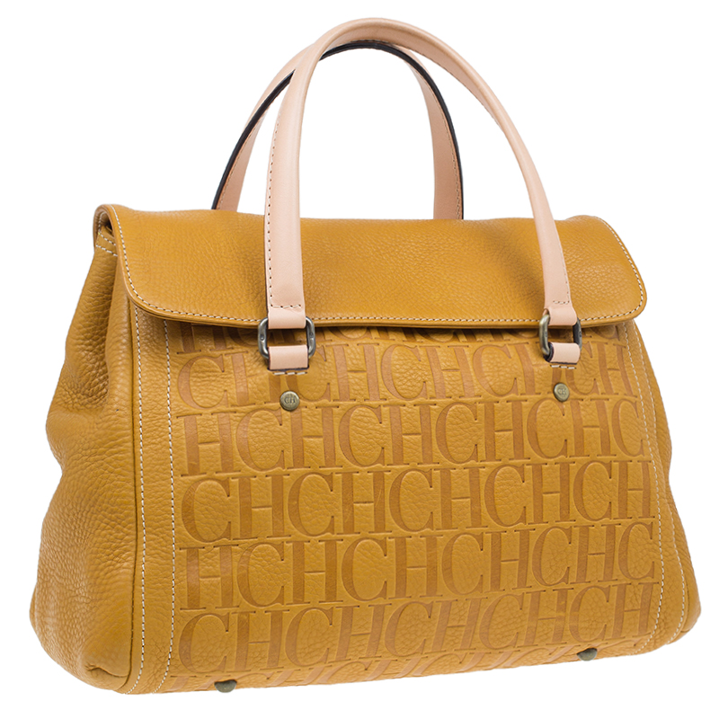 Carolina Herrera Tan Monogram Leather Satchel Bag