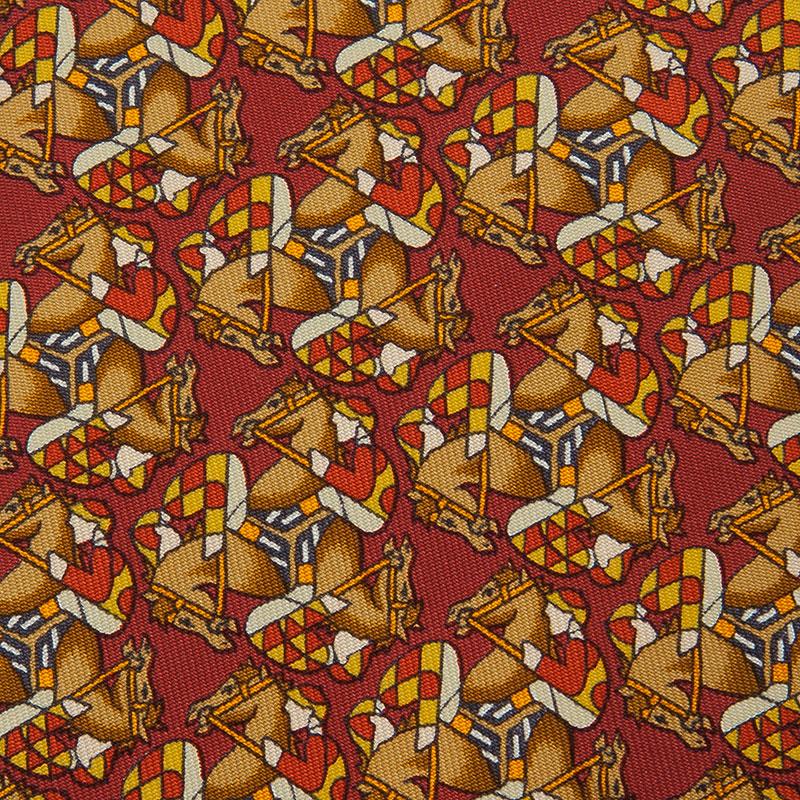 Hermes Red Silk Equestrian Print Tie