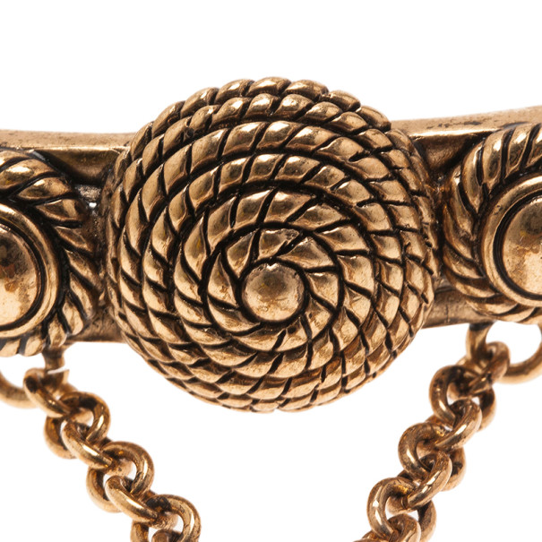 Versace Gold-Plated Chain Linked Ring and Bangle 19CM Size 54