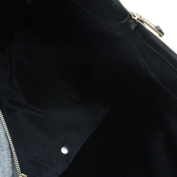 Saint Laurent Paris Grey Felt Downtown Luggage Tote