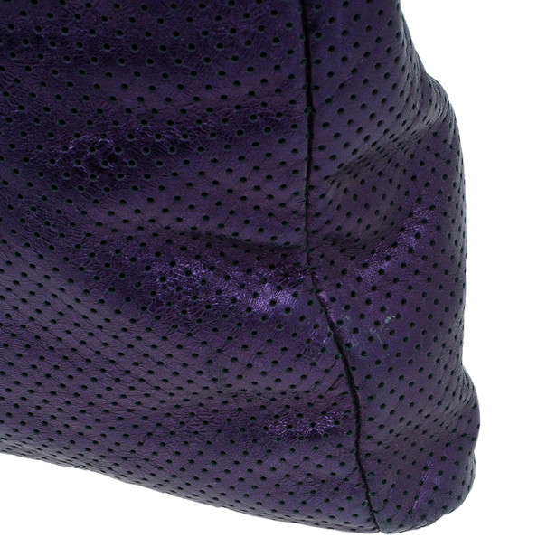 Chanel Purple Drilled Perforated Leather Shoulder Bag