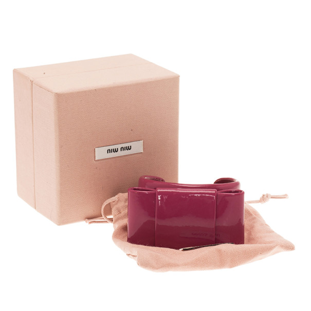 Miu Miu Pink Patent Leather Bow Bangle 17CM