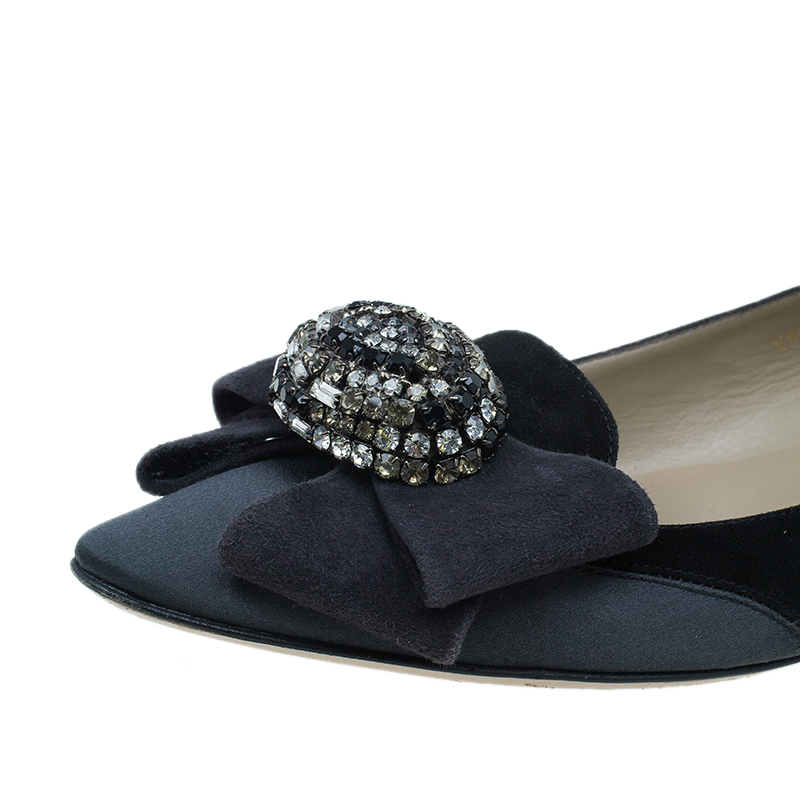 Valentino Black Suede and Satin Crystal Bow Ballet Flats Size 37.5