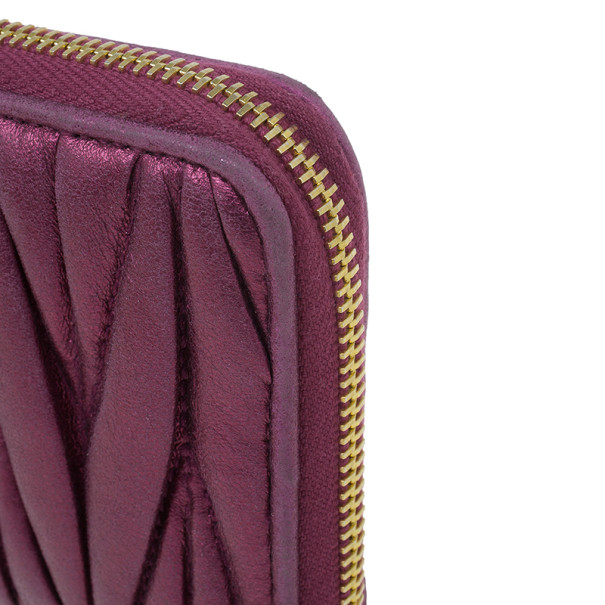 Miu Miu Fuschia Nappa Leather Matelasse Pouch