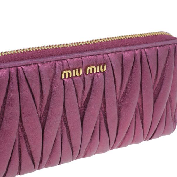 Miu Miu Fuschia Nappa Leather Matelasse Pouch