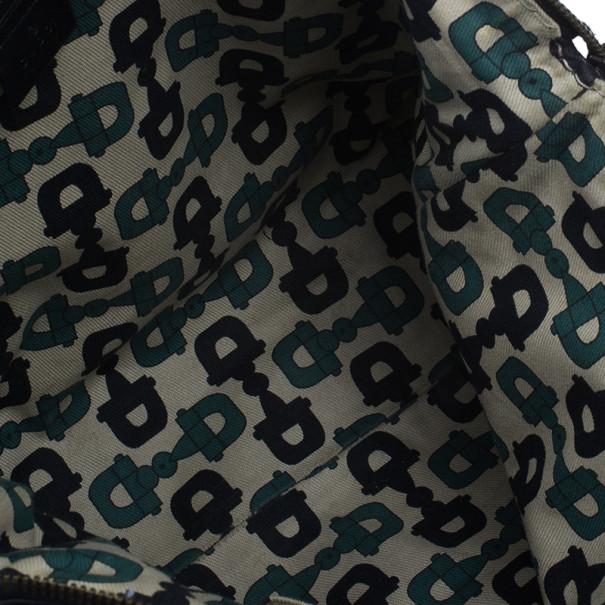 Gucci Black Monogram Leather Top Handle Tote
