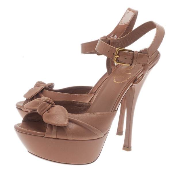 Saint Laurent Paris Beige Leather Bianca Ankle Strap Sandals Size 37.5