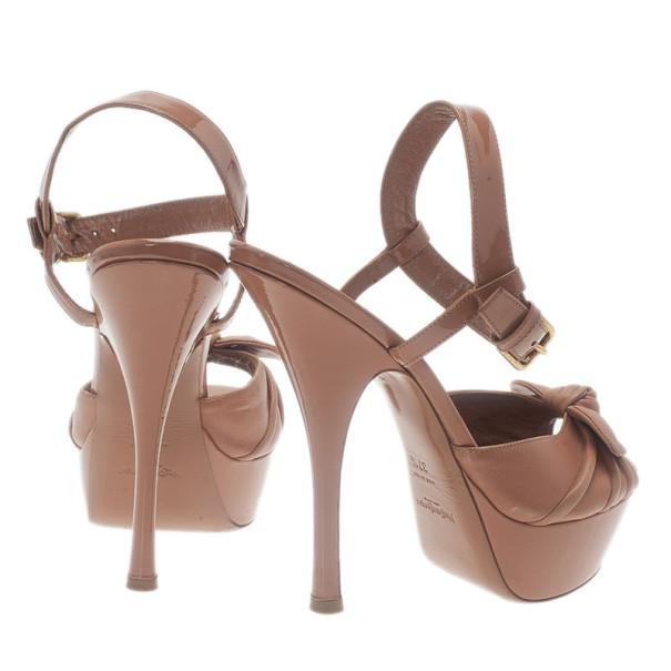 Saint Laurent Paris Beige Leather Bianca Ankle Strap Sandals Size 37.5