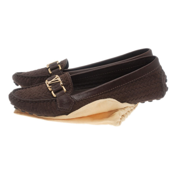 Louis Vuitton Brown Suede Oxford Loafers Size 39