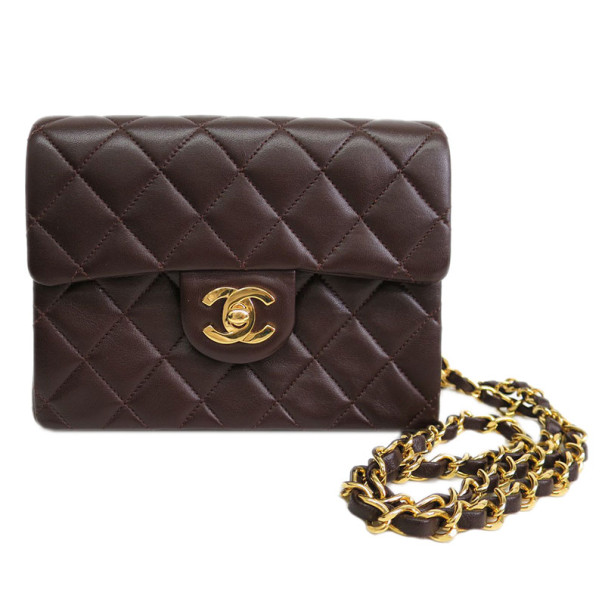 Chanel Brown Lambskin Mini  Flap Shoulder Bag