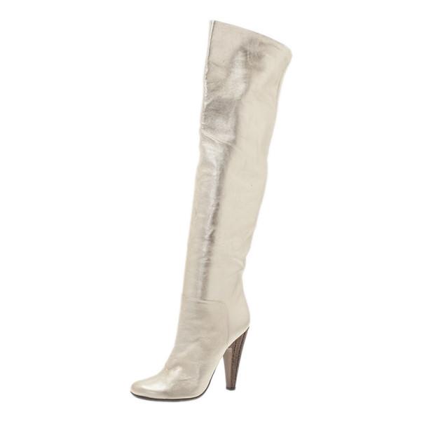 Giuseppe Zanotti Gold Metallic Leather Over the Knee Boots Size 39