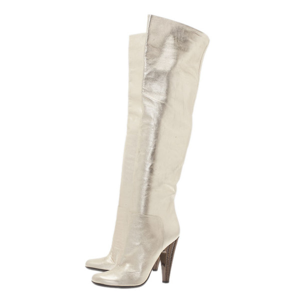 Giuseppe Zanotti Gold Metallic Leather Over the Knee Boots Size 39