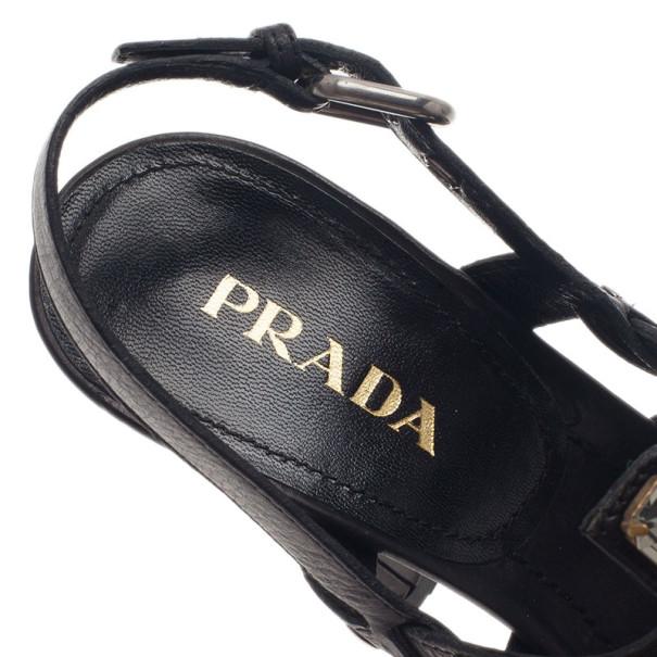 Prada Black Embellished Leather Strappy Sandals Size 37.5