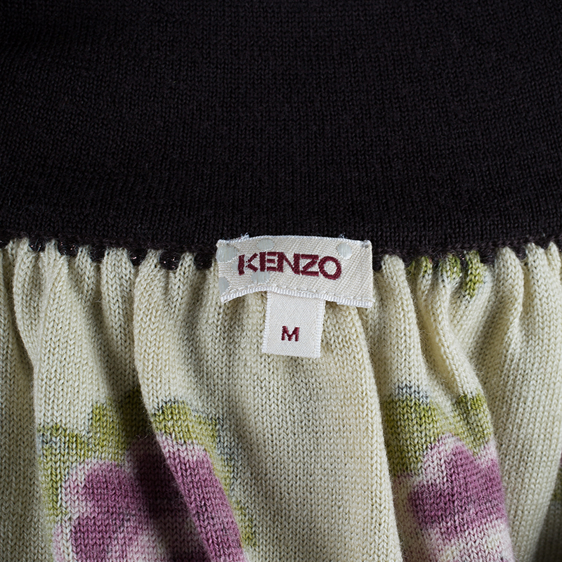 Kenzo Floral Fringed Wool Dress M
