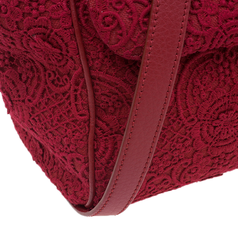 Dolce and Gabbana Red Crochet Rose Large Miss Sicily Tote