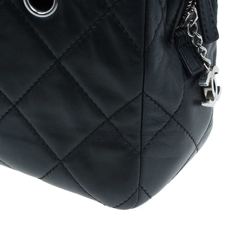Chanel Black Quilted Leather Large Camera Case Bag