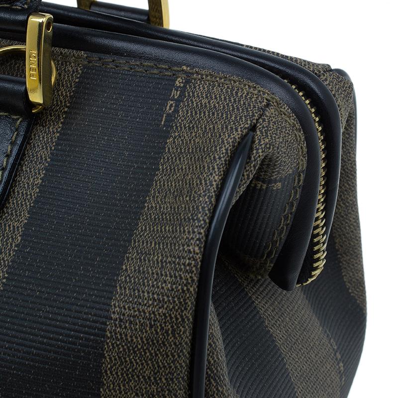 Fendi Black Pequin Tote boston Bag