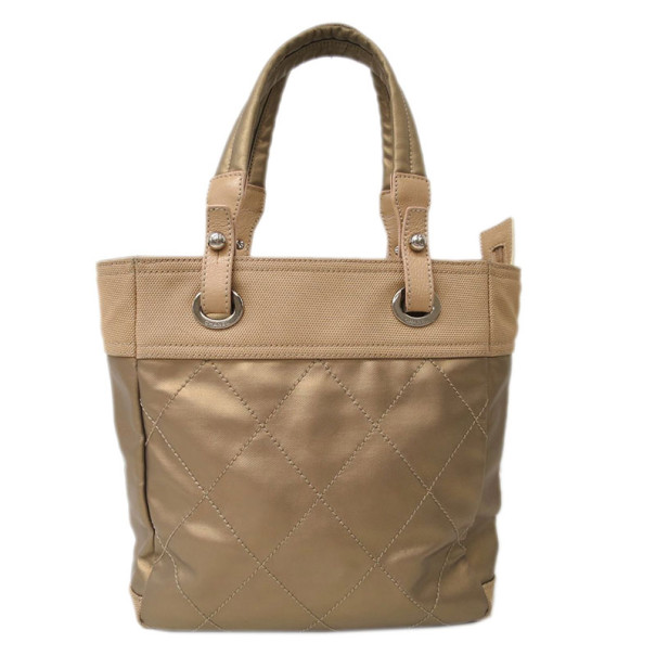 Chanel Gold Canvas Paris-Biarrtz Tote