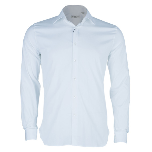 Burberry White Tailored Fit Men's Shirt EU38