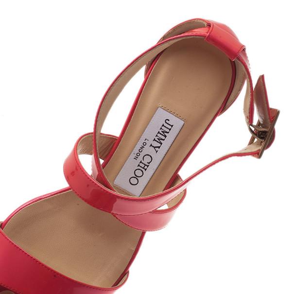 Jimmy Choo Pink Patent Chiara Wedge Sandals Size 35.5