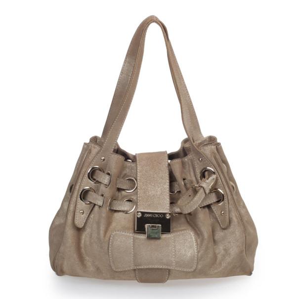 Jimmy Choo Metallic Gold Suede Ramona Tote Bag 31833 At Best Price Tlc