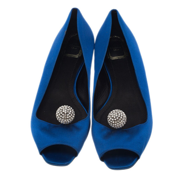 Dior Blue Satin Embellished Ballet Flats Size 39