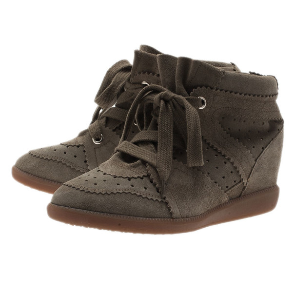 Isabel Marant Brown Perforated Suede Etoile Wedge Sneakers Size 39