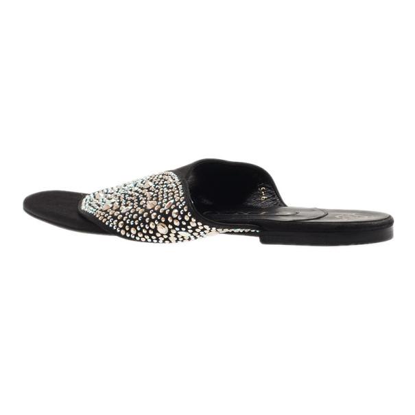 Gina Black Studded Satin Flat Sandals Size 39
