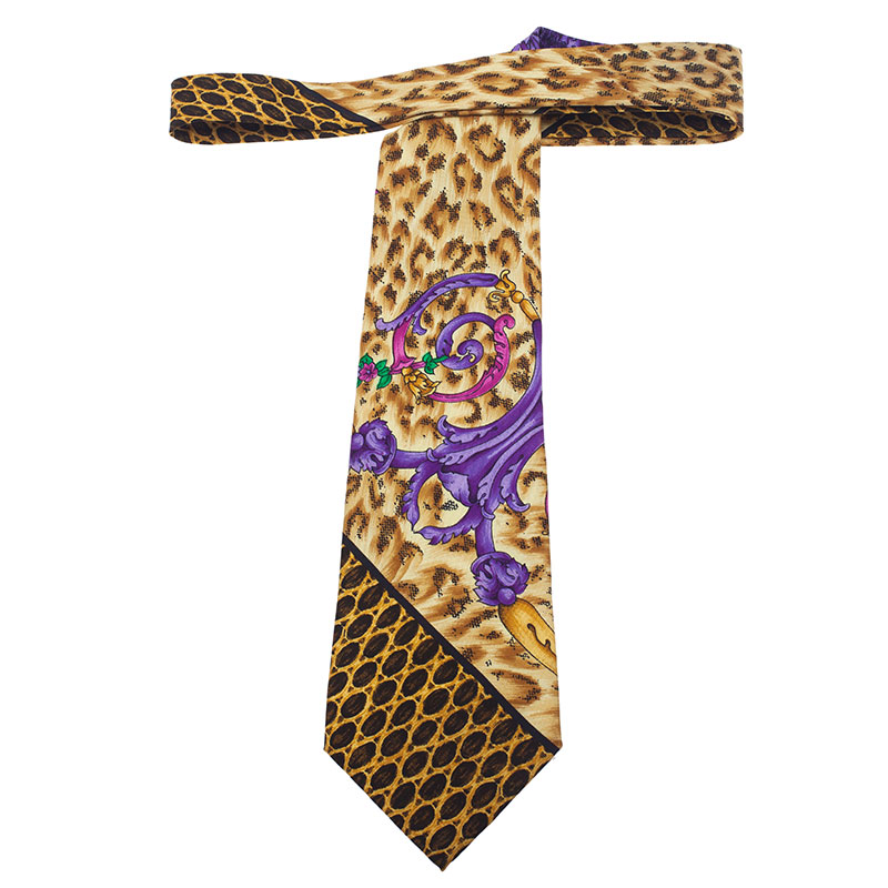 Gianni Versace Yellow Leopard Printed Silk Tie