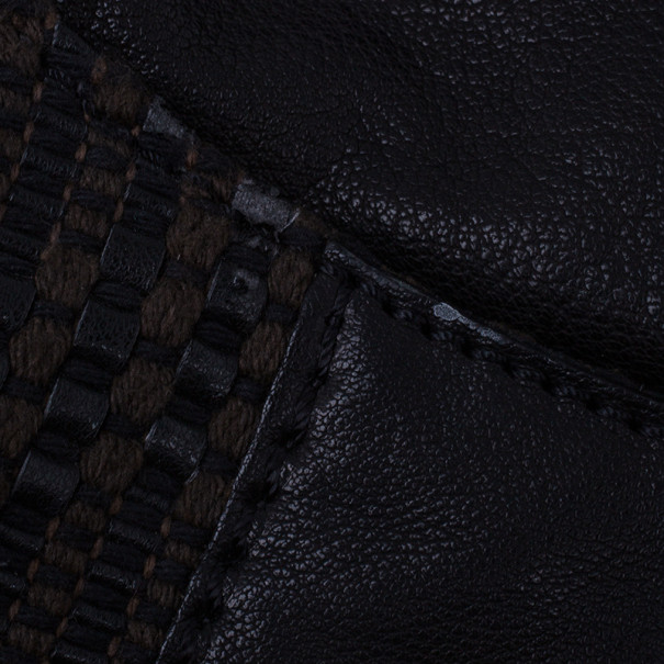 Valentino Brown Leather Woven Top Handle Shoulder Bag