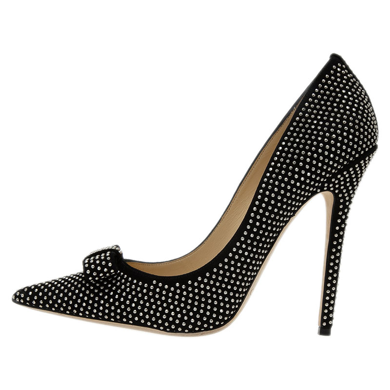 Jimmy Choo Black Studded Suede Maya Pointed Toe Pumps Size 40