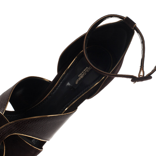 Dolce and Gabbana Brown Leather Ankle Strap Platform Sandals Size 40
