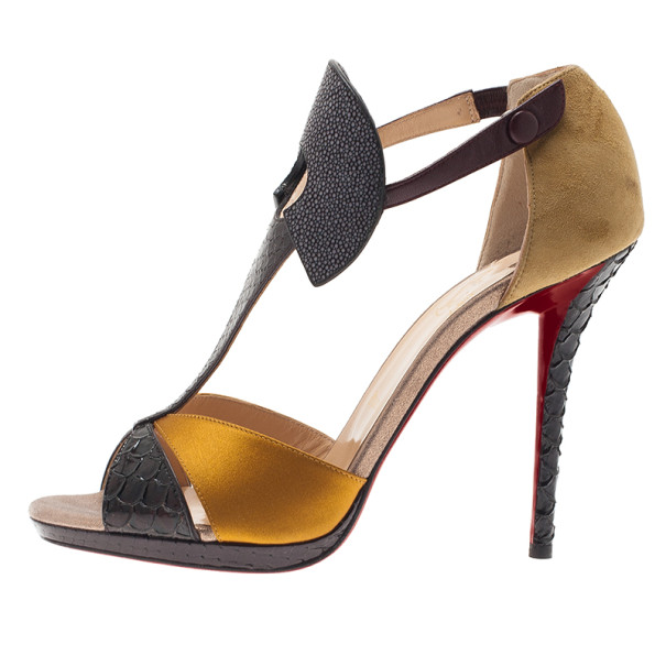 Christian Louboutin Python and Stingray Aztec Sandals Size 40.5