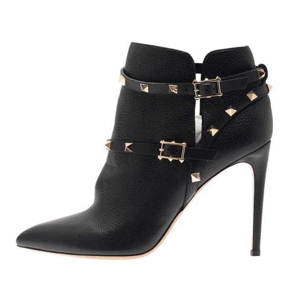 Valentino Black Leather Rockstud Ankle Boots Size 40