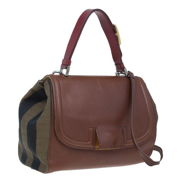 Fendi Brown Leather and Canvas Silvana Shoulder Bag