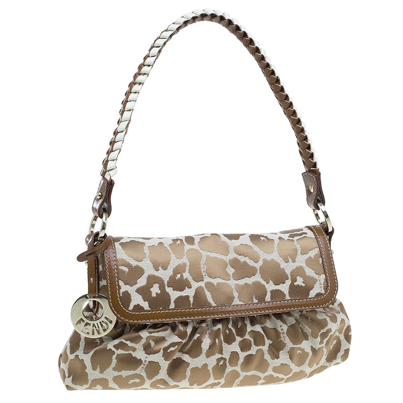 Fendi Giraffe Print Chef Hobo Shoulder Bag