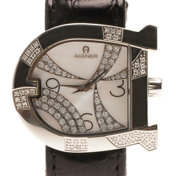 Aigner Mother of Pearl Stainless Steel Genua Women's Wristwatch 34MM