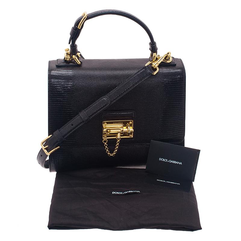 Dolce and Gabbana Black Iguana Leather Monica Tote Bag