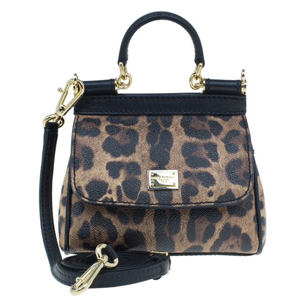 Dolce and Gabbana Leopard Print Leather Mini Sicily Bag